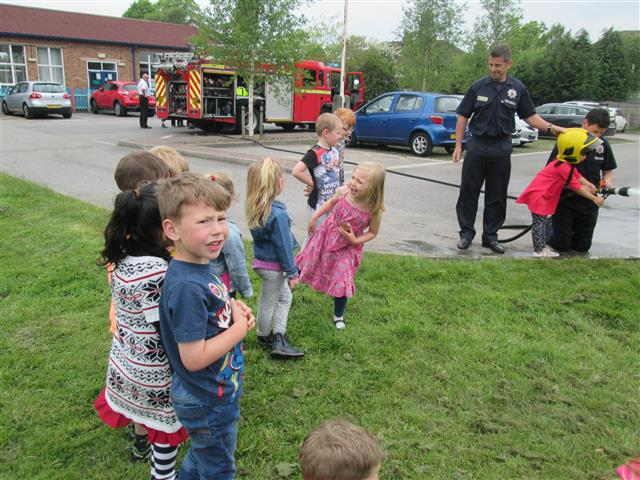 We went in a Fire engine and used the hose